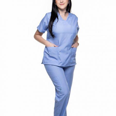 Conjunto (Blusa e Calça)Azul Celeste Liso 007