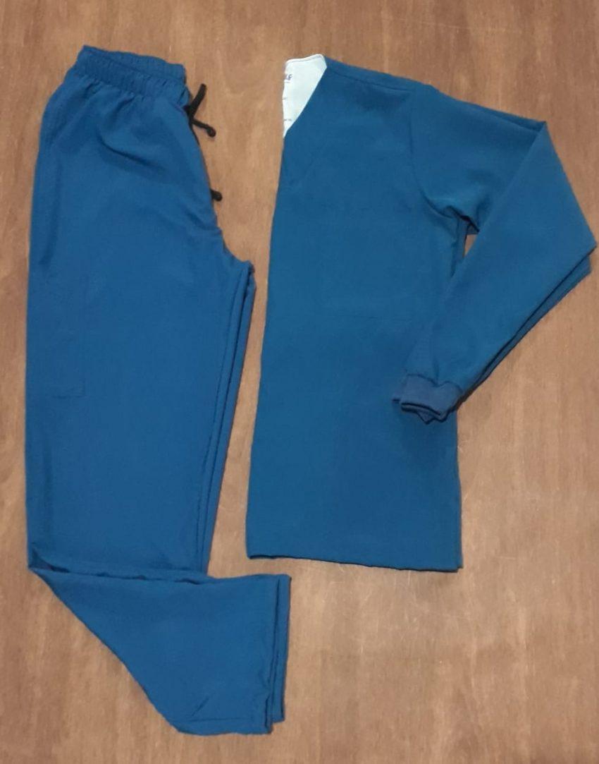 Conjunto Feminino Manga Longa (Blusa e Calça). Azul Petróleo - Pronta Entrega